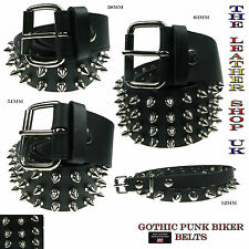 New High Quality Nickel Spike Studded Leather Belt Emo Punk Gothic Made In