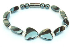Woman's Magnetic Black Hematite Heart and Silver Crystal Anklet Bracelet 1 Row