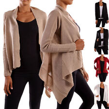 Casual Solid Long Sleeve Irregular Hem Open Draped Knit Sweater Career Cardigan