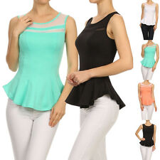Women Solid Mesh Slim Fit Sleeveless Peplum Flare Tank Top Pleated Hem Blouse