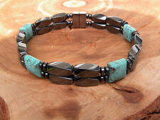 Men's Women's Magnetic Bracelet Anklet Chalk Turquoise SUPER STRONG 2 row AAA+