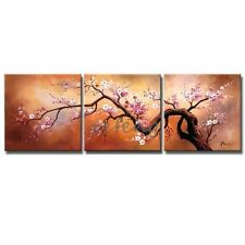 Hand Painted Pink Plum Blossoms Oil Paintings Decoration -(Frame)-(No Frame)