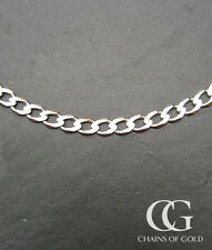 "Solid 9ct White Gold Men's Ladies 3mm Curb Chain 20"" 22"" 24"" GIFT BOXED"