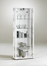 DOUBLE GLASS DISPLAY CABINETS WITH LOCK, LIGHT AND MIRROR