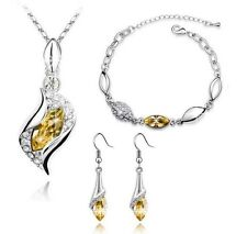 Yellow Crystal Swarovski Elements Ladies Women Jewellery Tri Set Christmas Gift