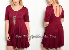 D133 RED CRANBERRY SEXY BIRD CAGE BACK EMPIRE DRESS JUNIOR PLUS SIZE 1X 2X