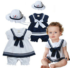 Baby Toddlers Girl Sailor Dress & Hat Set, Birthday / Party / Xmas Outfit 3-24M