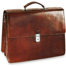 Jack Georges Sienna Triple Leather Briefcase w/Flap Over Gusset