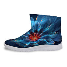 Womens Floral Ankle Boots Winter Warm Thicken Waterproof Flat Snow Boots Shoes