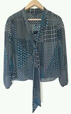BNWT M&S LIMITED EDITION LADIES SCARF BLOUSE TOP BLUE MIX SIZE  6-12  RRP £29.50