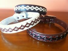 LEATHER WEAVE DESIGN DOG COLLAR SUPER STRONG 40 50 cm MEDIUM LARGE 16 20 inch