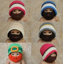 Kids Child Handmade Beanie Full Beard Mask Baby Knit Crochet Hat Newborn Prop