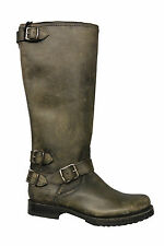 NIB Frye Veronica Back Zip Leather Tall Riding Boot in Stone 77551