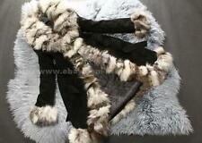 100% Real Pig Leather Long Coat Silver Fox Fur Collar Jacket Garment
