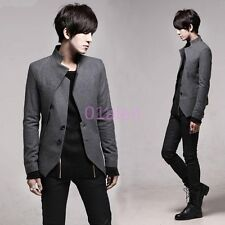 Mens Slim Jacket Blazer Coats Wool Blend Two Button Spring Fashion Korea Outwear