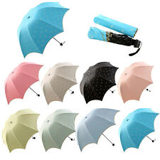 Cute Lady Princess Embroidery Lace Bow Dome Parasol Sun/Rain Folding Umbrella