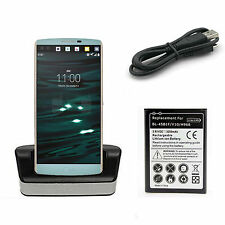 Desktop Dual Dock Battery Charger Cradle / BL-45B1F Battery For LG V10 H900