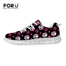 Cool Skull Head Lady Women Lace-up Sport Shoes Sneakers Casual Running Shoes
