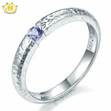 Genuine Tanzanite Solid 925 Sterling Silver Hammered Band Tail Ring Choose Size