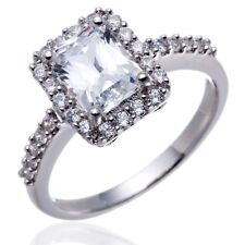 Emerald Cut Cubic Zirconia 925 Sterling Silver CZ Engagement Eternity Halo Ring
