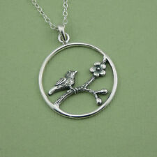 Swallow Necklace - cherry blossom, 925 sterling silver bird jewelry