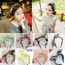 Fashion Women Girls Floral Fabric Butterfly Bow Hair Hoop Rabbit Ears Hairband