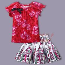 Girls Floral Skirt And Pink Rose Top T Shirt Flower Printed Set Kids Outfit 3-8T