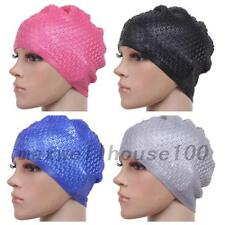 Newly Adult Silicone Stretch Swimming Long Hair Cap Hat Ear Protector Waterproof