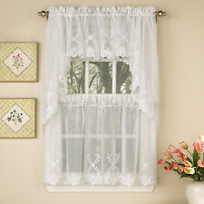 Laurel Leaf Sheer Voile Embroidered White Kitchen Curtains Tier, Valance or Swag