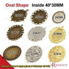 Oval Inside:40*30MM Trays Bezels Base Zinc Alloy Cameo settings Pendants 24405
