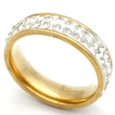 Fashion jewelry Yellow Stainless Steel Womens/Mens Clear CZ Ring 7 8 9 10 11