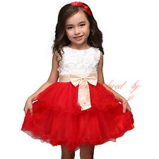 Girls Princess Dress Flowers Bow Sleeveless Kids Layered Party Dresses 1-5 Years