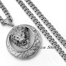 "MENs Large Heavy Celtic Lion Stainless Steel Pendant Curb Chain Necklace 18""-36"""