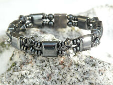 Mens Womens 100% Magnetic Bracelet Anklet w Diamond Shape Black Hematite Gauss+