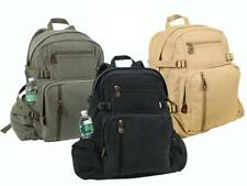 BACKPACK Cotton Canvas VINTAGE MILITARY STYLE in BLACK OLIVE KAKI