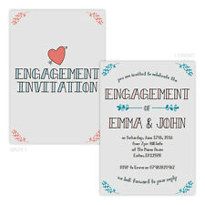 Personalised engagement party invitations CORAL TEAL FLORAL LINES FREE ENVELOPES