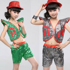 Childs Sequined BOYS Jazz Tap dancewear Top+pants Kids Girls Party Dance Costume