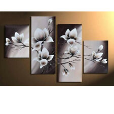 4 pcs Blooming Flowers Modern Hand-painted Canvas Oil Paintings for Home Decor