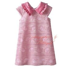 Girl Pink Lace Dress Short Sleeve Flower Summer Princess Party Dresses 3-8 Years