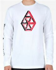 New VOLCOM Men's White Graphic Printed Stone Science L/S Crew Tee Shirt Top $26