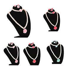 Kids Necklace Bracelet Ring Ear Clips Set Jewelry Girls Accessories Big  Nice