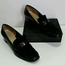 Salvatore Ferragamo 7.5A Black Leather Suede Slip-on Pump Square Loafer Heel