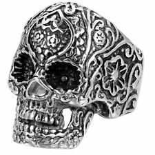Retro Gothic Carved Pattern Stainless Steel Mens Biker Skull Ring Band Size 7-12