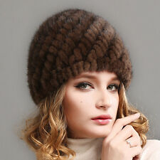 Fashion Real Mink Fur Hat Cap Handmade Winter Warm New Knitted Mink Fur Hat Top