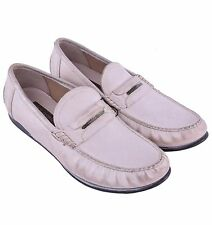 DOLCE & GABBANA Logotype Patent Leather Loafer Shoes Vintage Beige Cream 04211