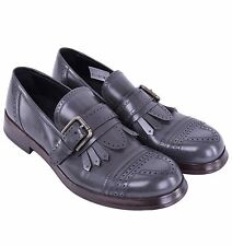 DOLCE & GABBANA Solid Patent Leather Loafer w. Buckle Shoes Grey 04213