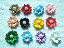 DIY 25/50PCS Satin Ribbon Flower with  Bead Appliques~Craft/Trim