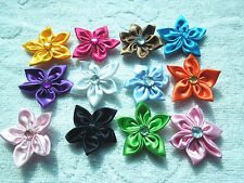 NEW 50PCS Satin Ribbon Flower with Crystal Bead Appliques Crafts Trim DIY