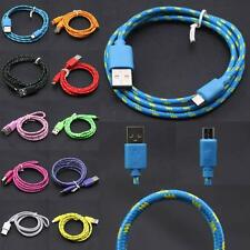 2M/6FT Long Braided Fabric Micro USB 2.0 Data Charger Cable Lead For Cell Phones