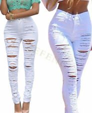 NEW Womens Skinny Pencil Cotton Hole Slim Pencil Pants Jeans Ripped HOT